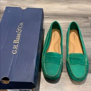 Gh Bass and Co green loafers